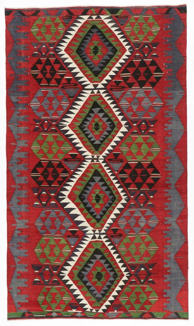 Semi-Antique Anatolian Kilim, Turkey: 5'5'' x 9'4''