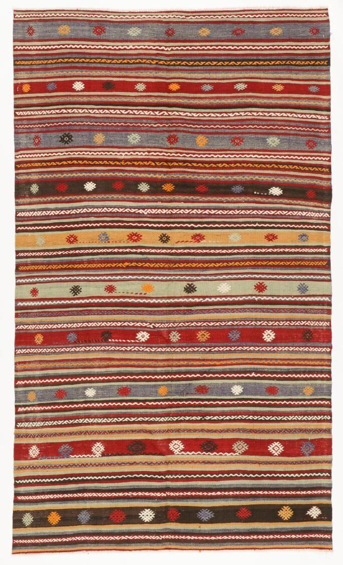 Semi-Antique Anatolian Kilim, Turkey: 5'0'' x 8'8''