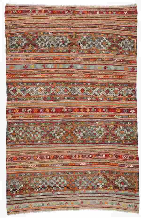 Semi-Antique Anatolian Kilim, Turkey: 5'11'' x 9'2''