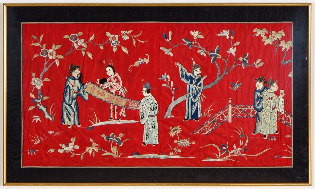 Antique Chinese Silk Pictorial Embroidery