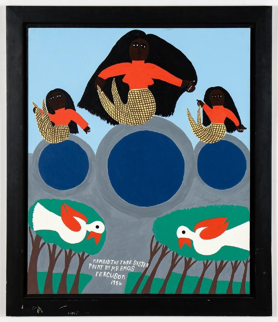 "Amos Ferguson (Bahamian, 1920-2009)  ""Mermaids"""