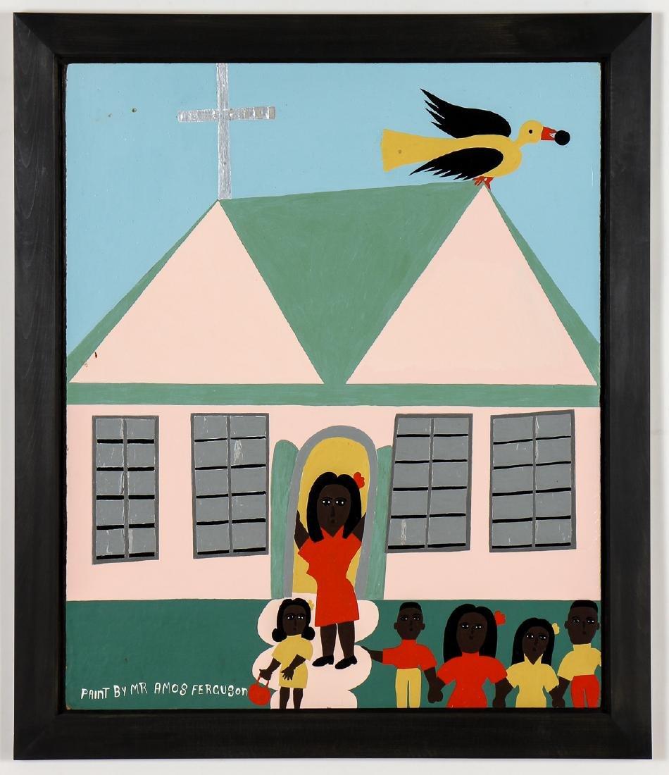 "Amos Ferguson (Bahamian, 1920-2009) ""Pink School House"""