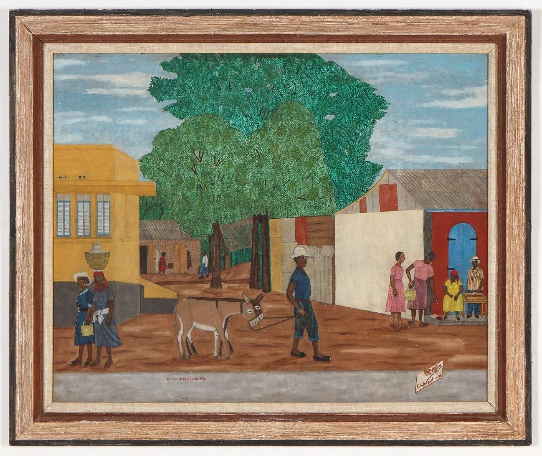"""Philome Obin (Haitian, 1892-1986) """"Un coin de la Ville"""