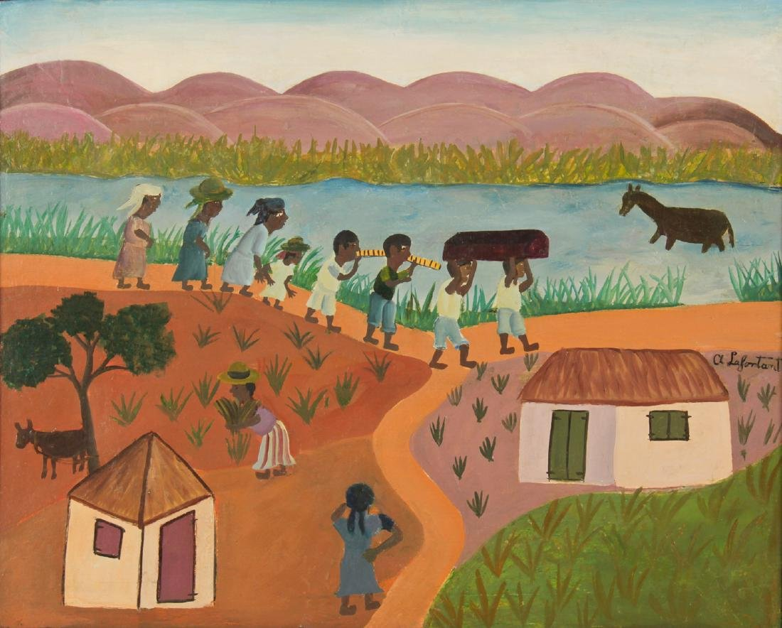 """A Lafontant (Haitian, 20th c.) """"Funeral Procession"""""""