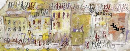 Purvis Young (1943-2010) Mixed media Painting on wood