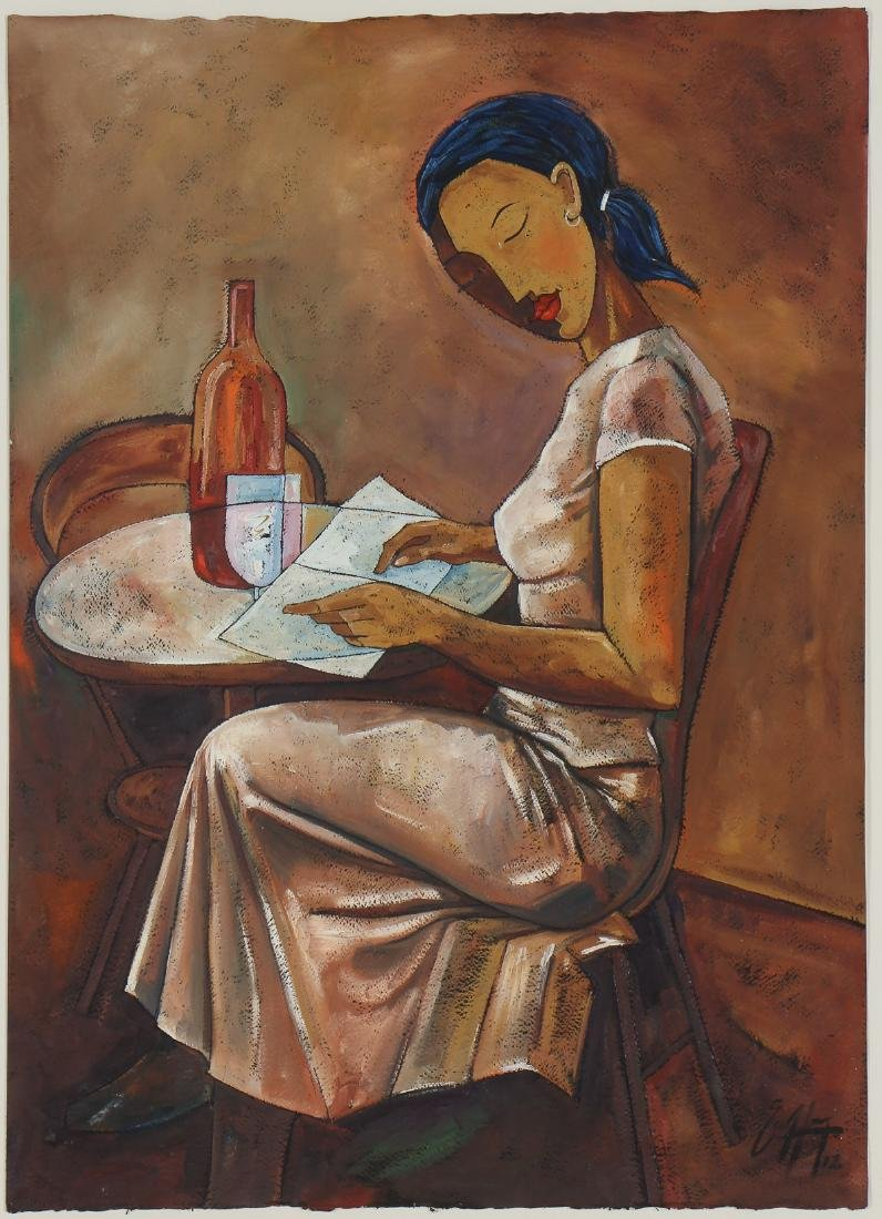 """Michael Escoffery (Jamaican, 20th c.) """"Table For One"""","""