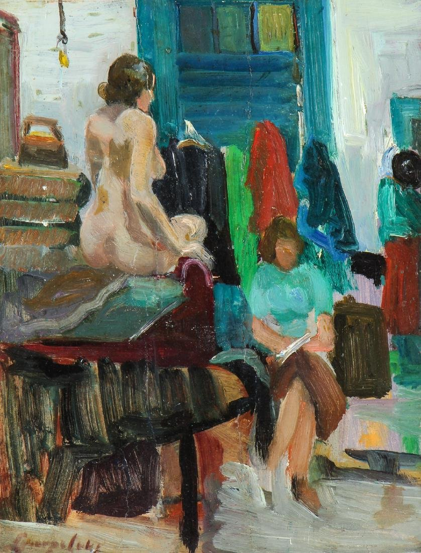 """Attr. to George Luks (1867-1933) """"In the Studio"""""""