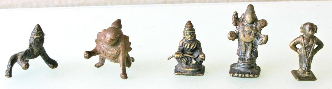 Five 19th C. Small Brass Deity Statues, India