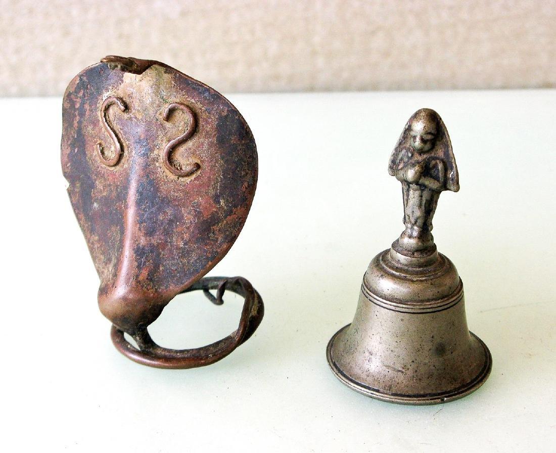 19th C. Copper Naga & Brass Temple Bell (2)