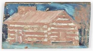 """Jimmy Lee Sudduth (1910-2007) """"Alabama Log Cabin"""","""