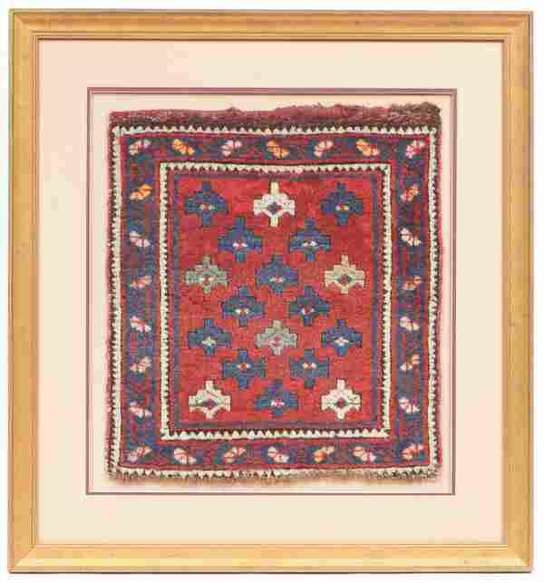 Antique Kuba Bagface, Caucasus, in Custom Frame