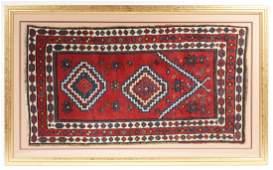 Antique East Anatolian Kurd Prayer Rug in Custom Frame