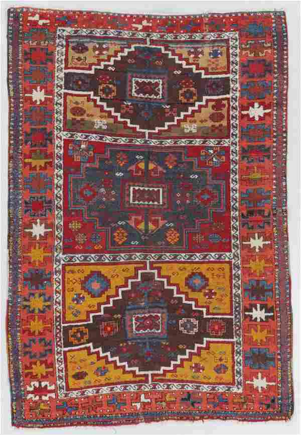 Antique East Anatolian Kurd Rug, Turkey: 4'1'' x 5'11''