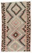 Semi-Antique Anatolian Kilim, Turkey: 5'7'' x 9'2''