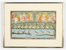 Fine Indian Miniature Painting, c. 1775, Scene from the