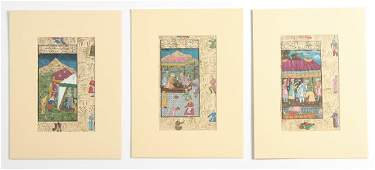 Group of 3 Indo-Persian Miniature Paintings