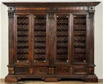 Large Antique Italian Walnut Library Bookcase