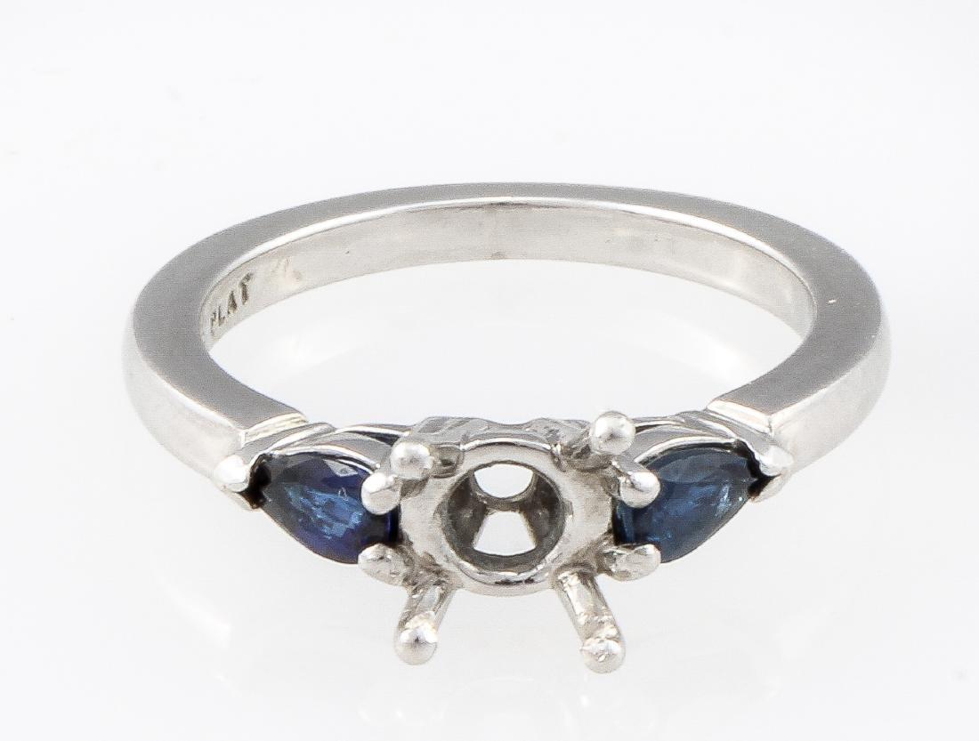 Platinum Diamond and Blue Sapphire Engagement Ring