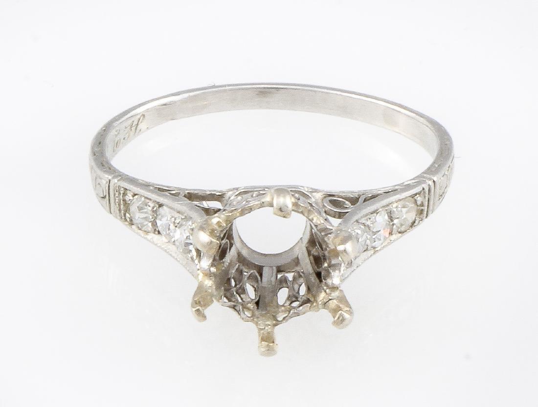 Platinum Vintage Diamond Engagement Ring Mounting