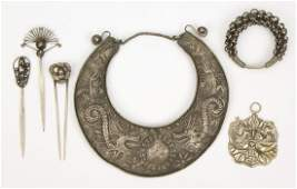 Group of Six Yao and Miao Tribal Silver Ornaments