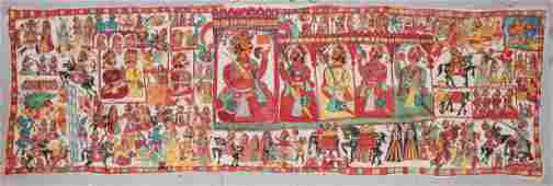 Large Indian Narrative Painting on Cloth (Pabuji Ki