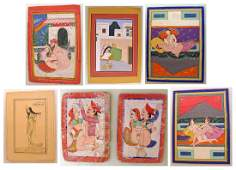 Group of 19th C. Erotic Indian Miniature Paintings