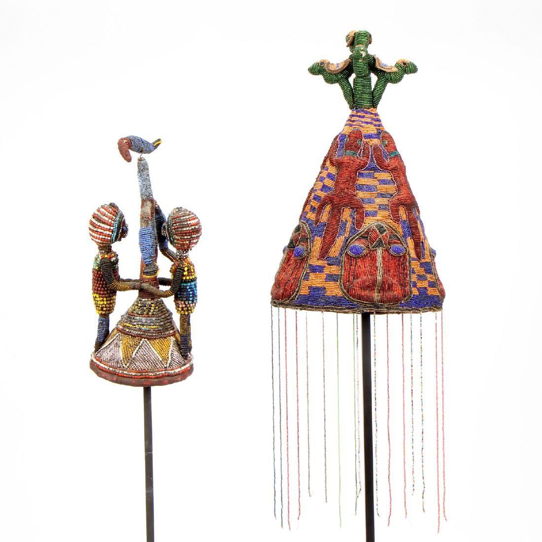 Two African Yoruba Beaded Headdresses, Nigeria
