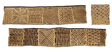 Three Long African Kuba Cloths and a Small Square