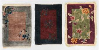 3 Art Deco Rugs Early 20th C China