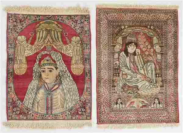 Two Antique Lavar Kerman Pictorial Rugs, Persia