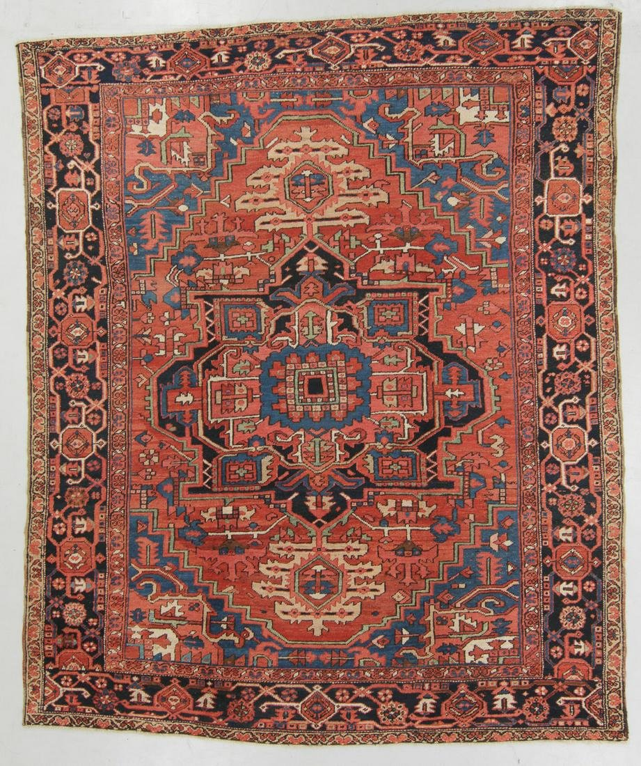 Antique Heriz Rug, Persia: 9'4'' x 11'5''