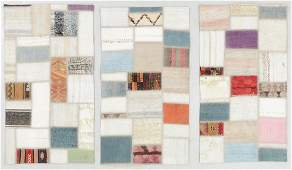 3 Turkish Kilim Patchwork Rugs 26 x 46 Each
