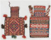 Two Antique Uzbek Flatweave Salt Bags