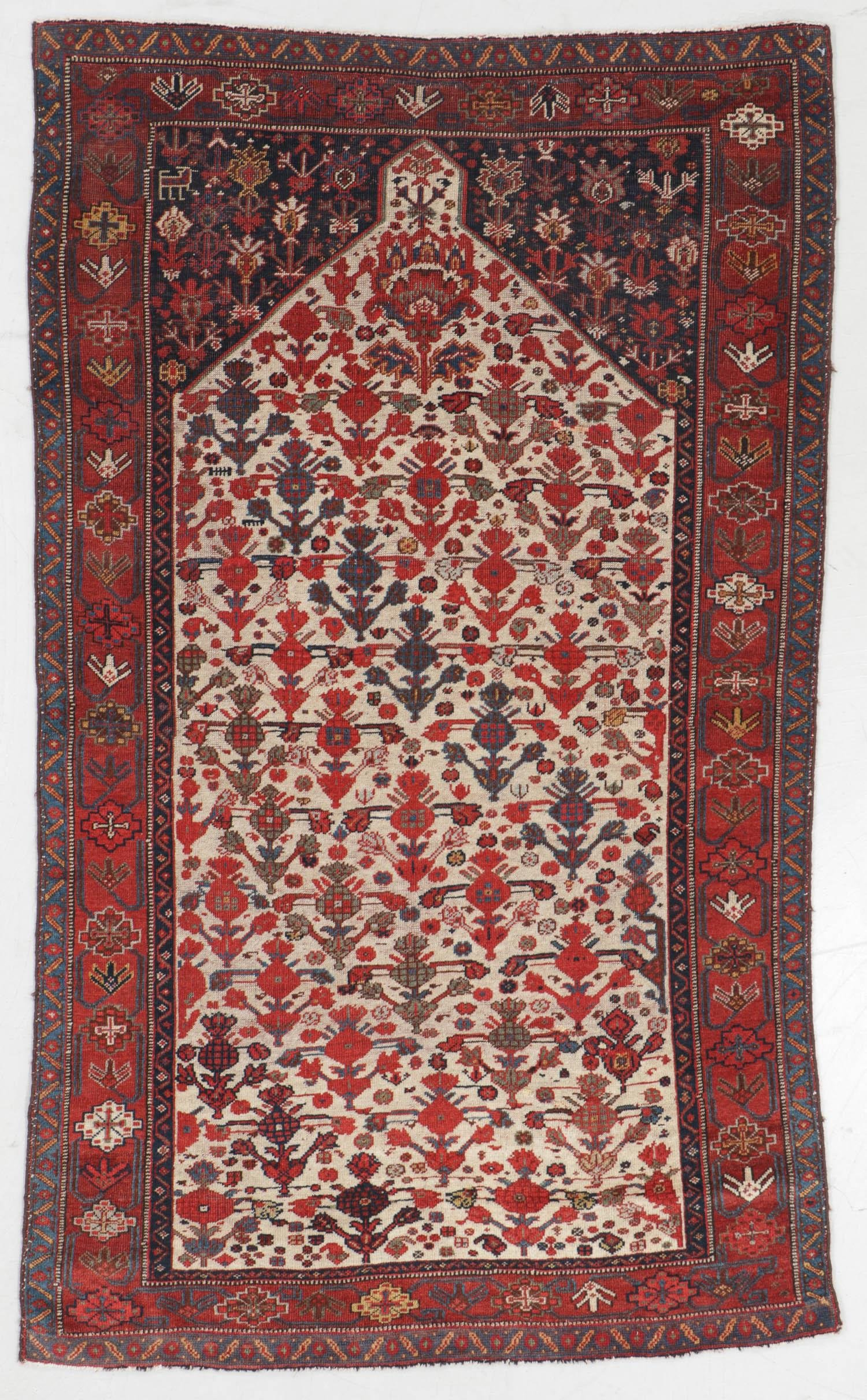 Rare Antique Khamseh Beharlu Prayer Rug, Persia