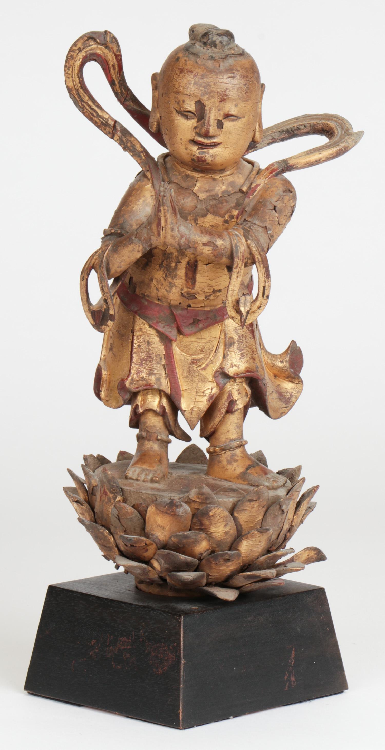 18th C. Gilt Wood Statue of Baby Buddha, China