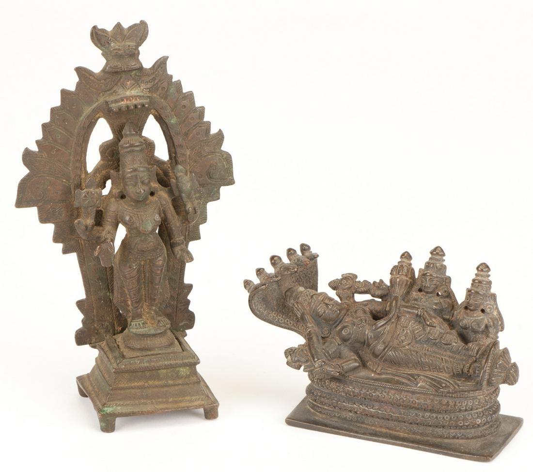 2 Antique Bronze Statues of Vishnu, Tamil Nadu