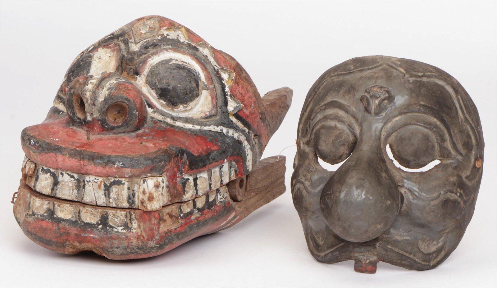2 Antique Masks, Bali and Java