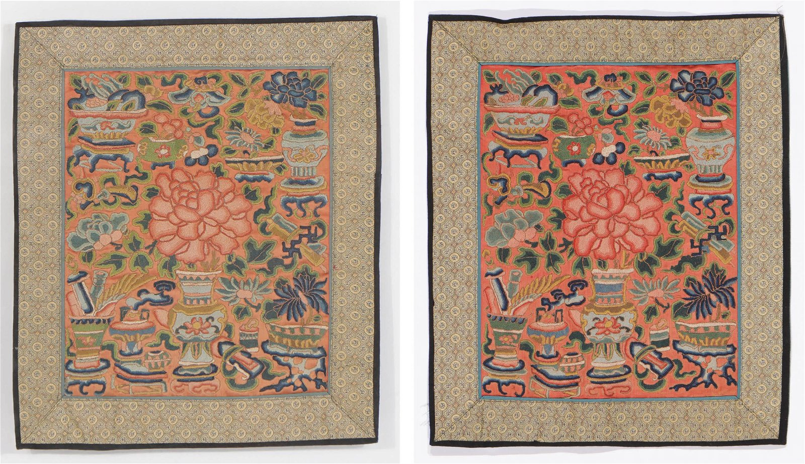 2 Antique Chinese Silk Embroideries, Qing D.