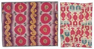 2 Antique Central Asian Uzbek Silk Ikat Textiles