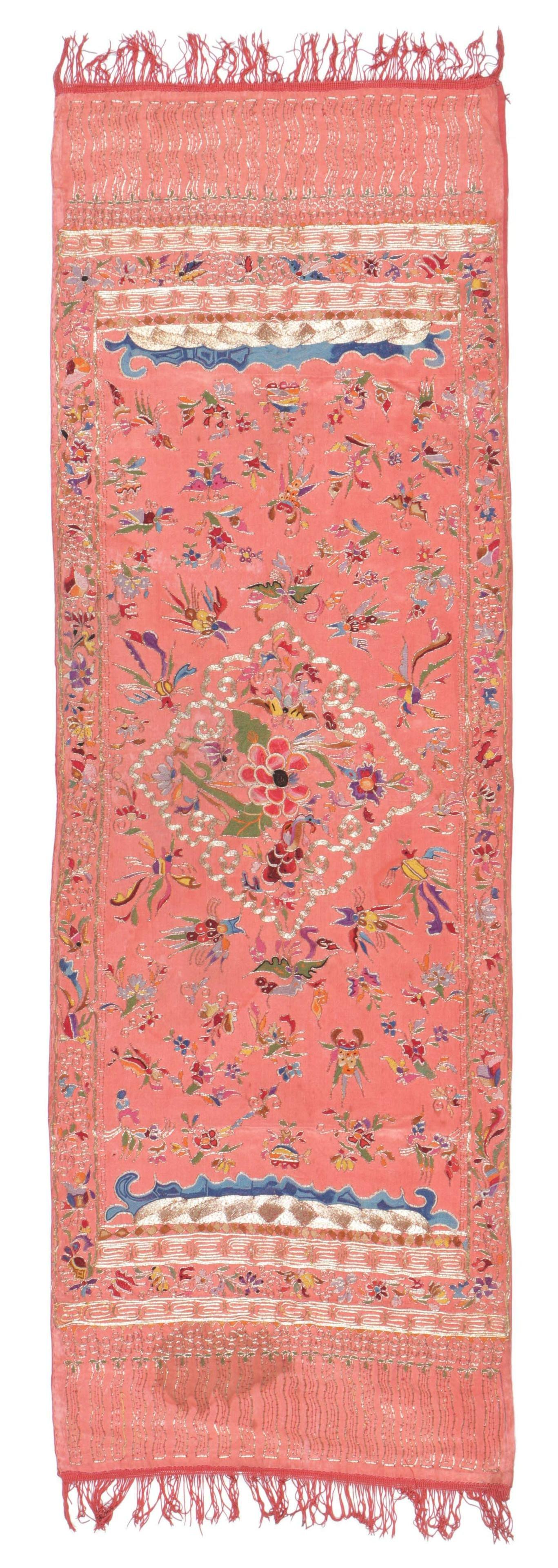 Exquisite Silk Embroidered Textile, Chinese Sumatra
