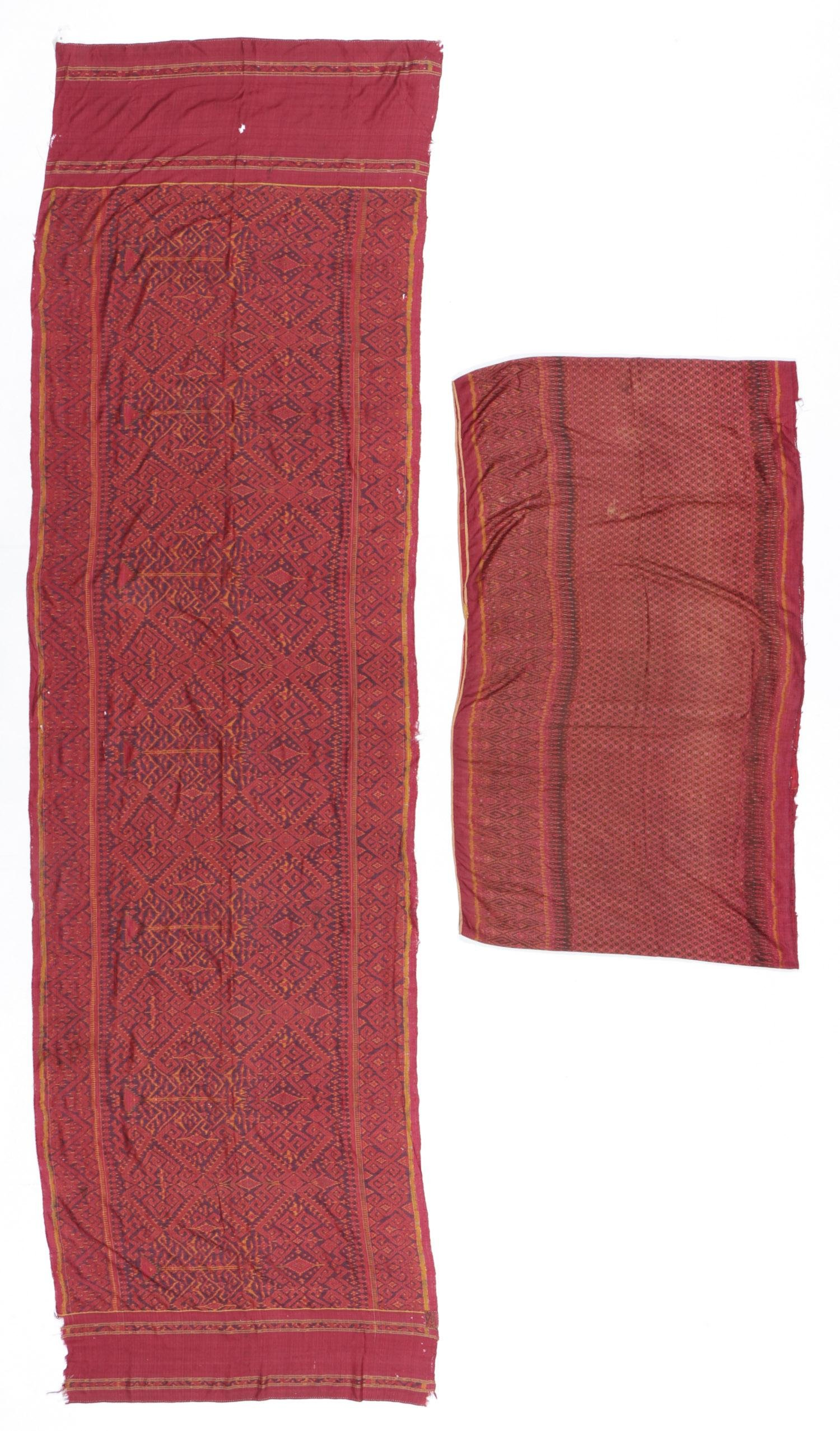 2 Cambodian Silk Ikat Textiles, Early 20th C.