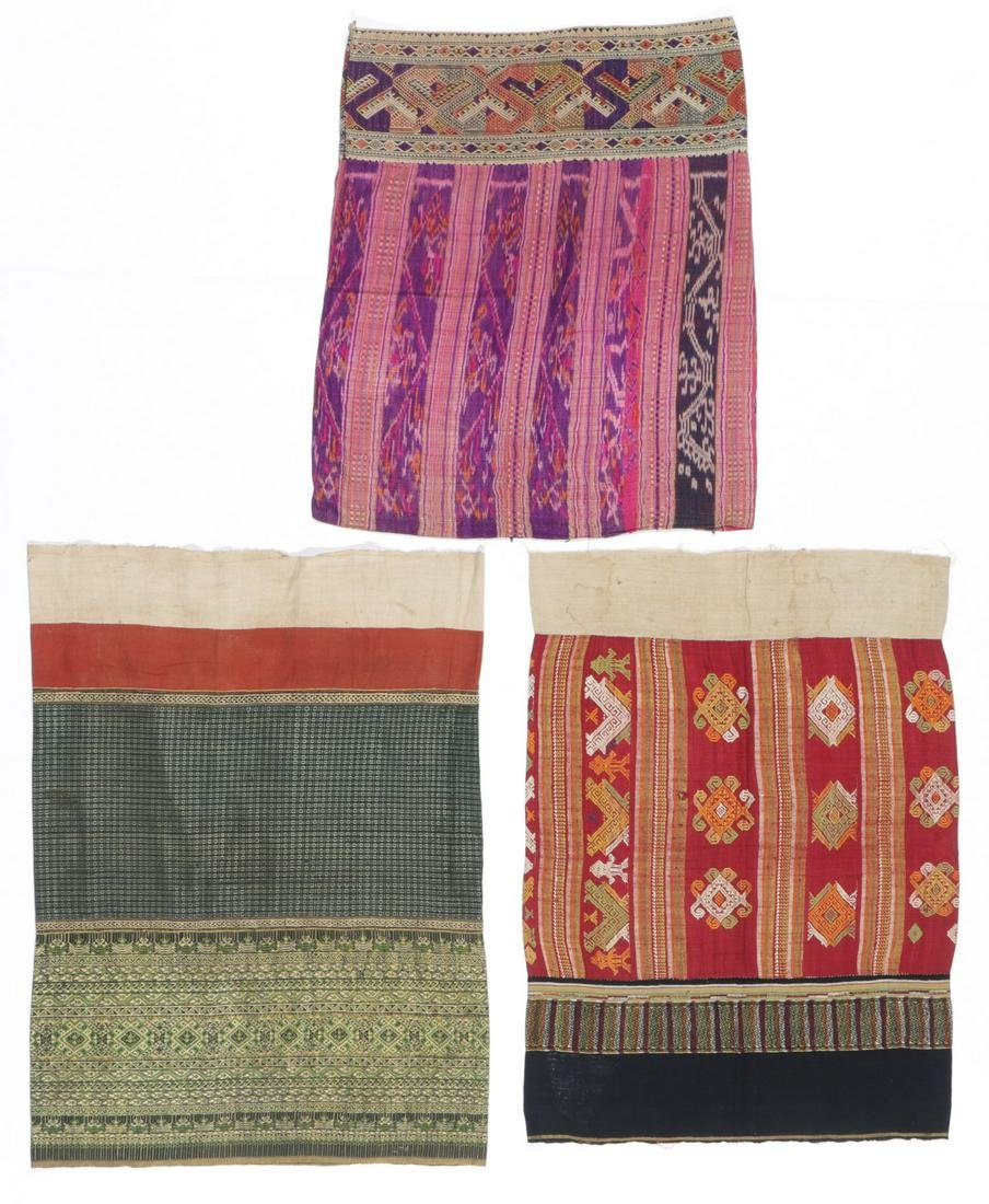 3 Old Southeast Asian Skirt Textiles