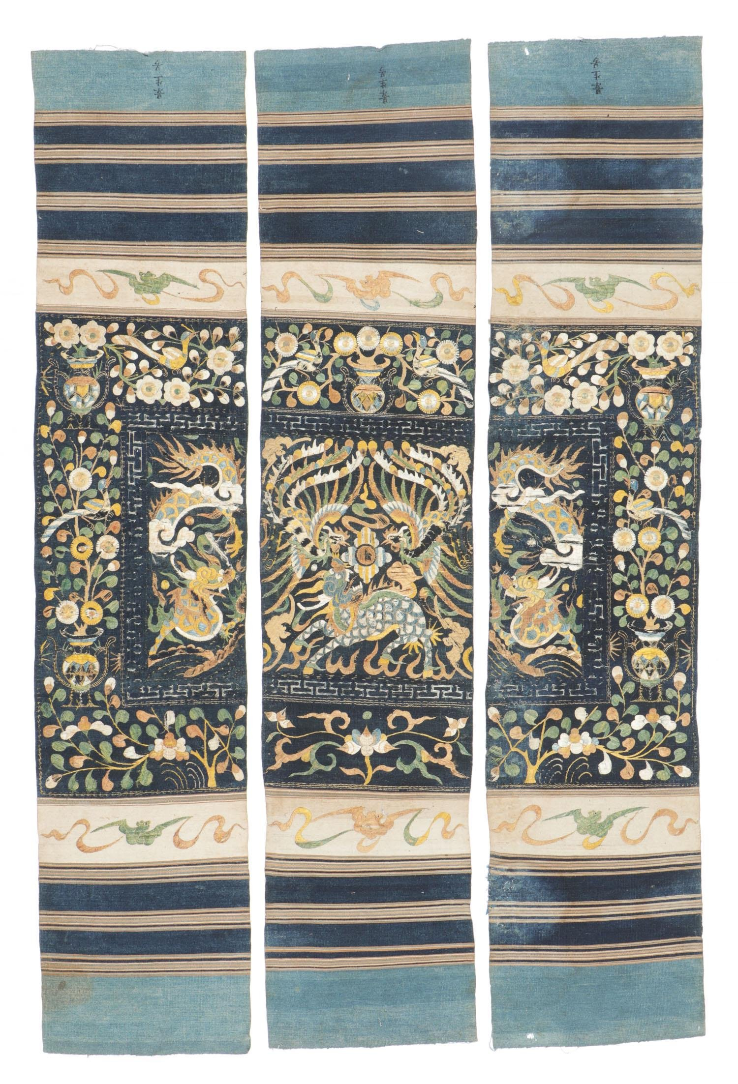 Antique Silk Embroidered Dragon Tapestry, Li People
