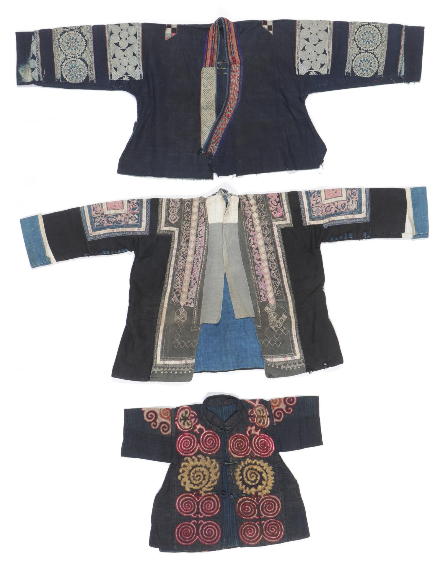 3 Old Silk Embroidered Jackets, Miao People, China