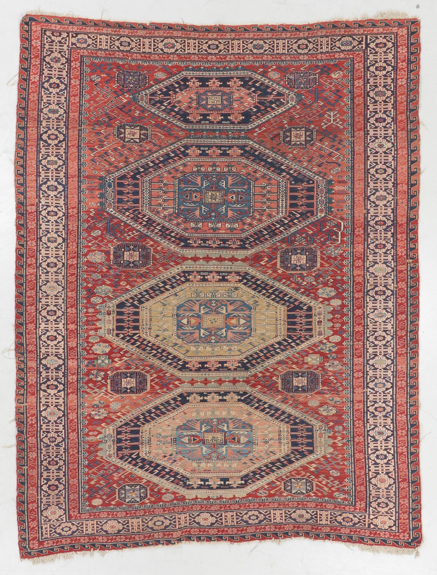 Antique Sumak Rug, Caucasus: 6'5'' x 8'3''
