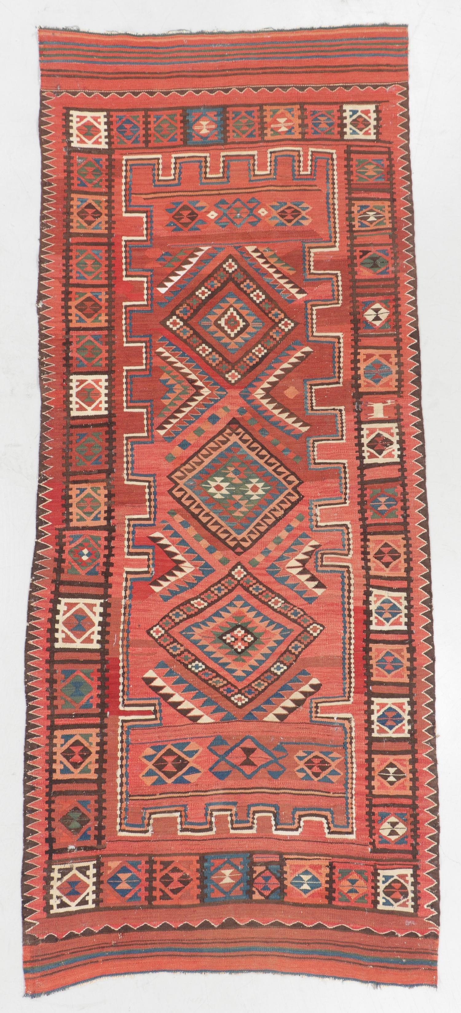 Antique Central Asian Kilim: 4'9'' x 11'2''