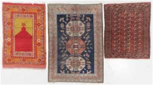 3 Antique Persian, Turkish, Turkmen Rugs