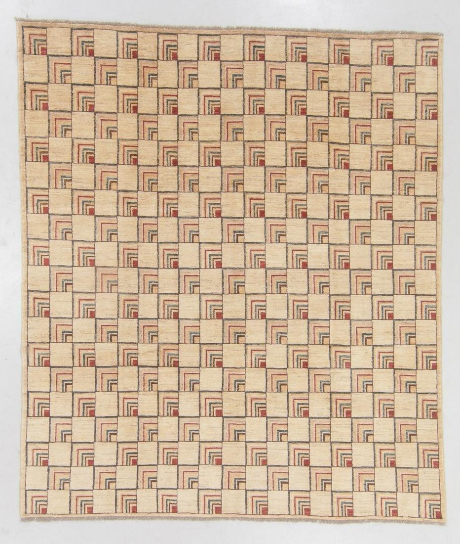 Modern Mid Century Design Wool Rug, Afghanistan: 8'4''