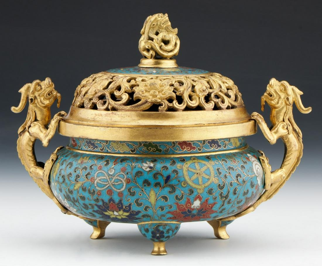 Chinese Gilt Bronze Mounted Cloisonne Censer