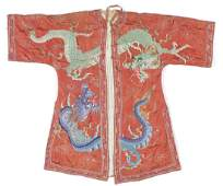 Antique Chinese Dragon Embroidered Silk Robe